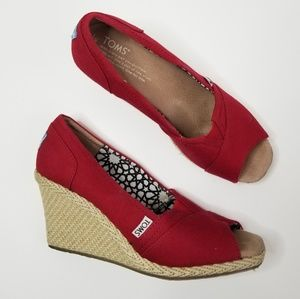 Toms Classic Wedge Canvas Espadrille Peep Toe